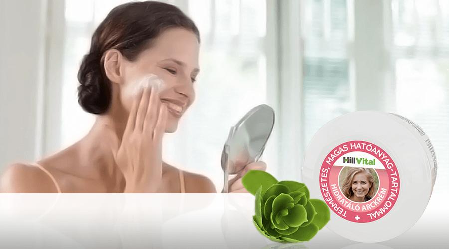 Hidratált bőr a Hillvital arckrém segítségével